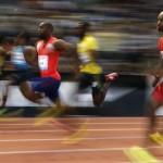 El atleta de Estados Unidos Tyson Gay en acción al ganar los 100 metros hoy, jueves 4 de julio del 2013, en la prueba Athletissima de la Liga de Diamante de la Federación internacional de atletismo (IAAF) que se disputa en el estadio olímpico de Pontaise, Lausana, Suiza. EFE