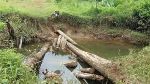 Puente caído y deteriorado en la trocha fronteriza, en el tramo entre Boca San Carlos y Caño Jardín. Cortesía para CRH