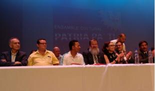 Con coplas, sindicatos celebraron acuerdo con el Frente Amplio y el PAC en junio pasado. Foto CRH